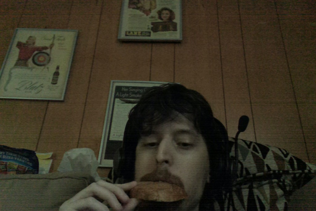 Me, at 2:09 PM, on Monday, July 20th 2015 eating my lunch of Rye Bread. Yum.
