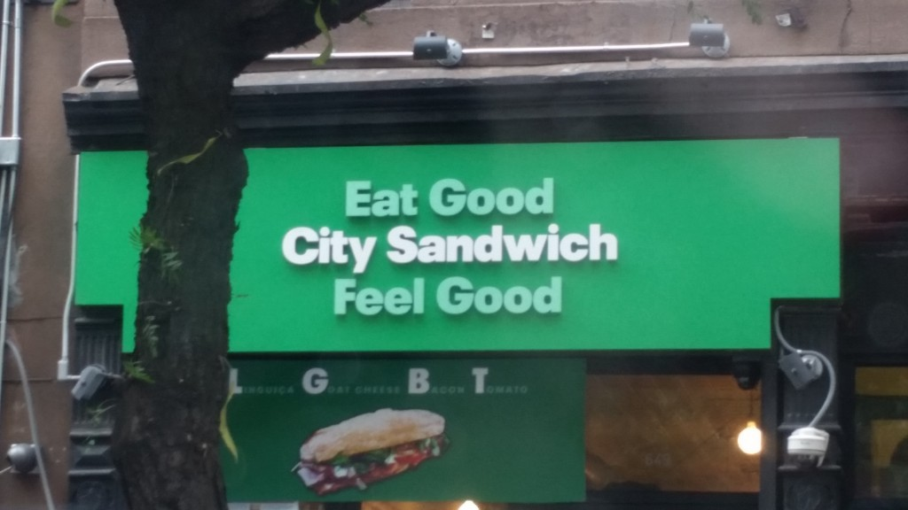 Here is a fun sign I saw in NYC traffic. Read it top to bottom. Also, LHBT sandwich.